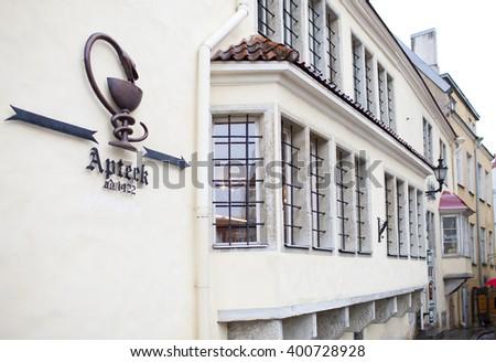 Building of an ancient drugstore, 15th century. Tallinn. - stock photo