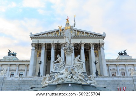 Building of Austrian parliament in Vienna
