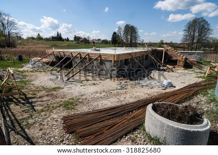 building of house basement  - stock photo