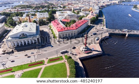 Building of old Saint Petersburg Stock Exchange on the spit of Vasilyevsky island. Aerial view. The Neva river, St. Petersburg, Russia