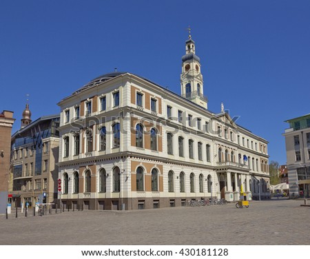 Building of Riga City Council at the Town Hall Square in Riga, Latvia - stock photo