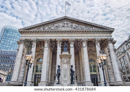 building of Royal Exchange in London near Bank underground station - stock photo