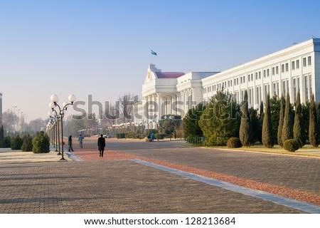Building of senate and public garden - stock photo