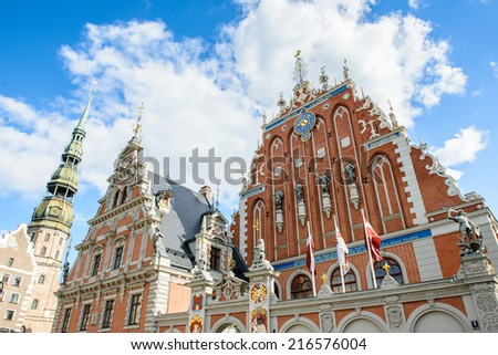 Building of the Brotherhood of Blackheads in the Old city of Riga, Latvia. Riga's historical centre is a UNESCO World Heritage Site - stock photo