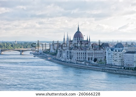 building of the Hungarian parliament in Budapest, Hungary - stock photo