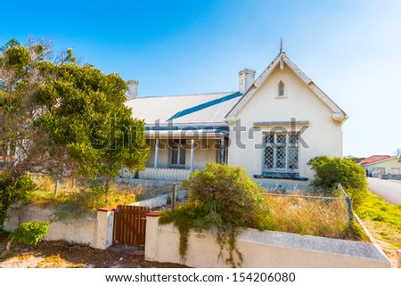 Building of the Robben Island, an island in Table Bay, west of the coast of Bloubergstrand, Cape Town, South Africa. - stock photo