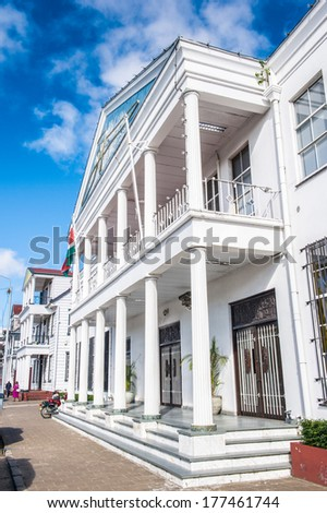 Building of the Waterkant street of Paramaribo, Suriname. The historic inner city of Paramaribo is a UNESCO World Heritage Site since 2002.