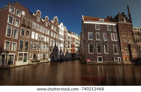 Building on a canal from Amsterdam city, Netherlands
