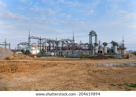 Building on a high-voltage substation - stock photo