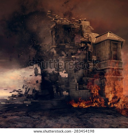 Building on fire torn apart by a tornado - stock photo