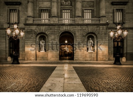 Building on Plaza de la Constitucion, Barcelona - stock photo