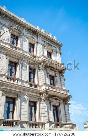 Building on the Avenida de Mayo (May avenue) in Buenos Aires. The consturction was inspired by Mayor Torcuato de Alvear, work began in 1885 - stock photo