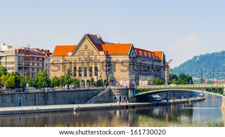 Building on the bank of the river Vltava, Czech Republic