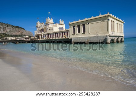 building on the beach, Mondello, Palermo, Sicily, Italy