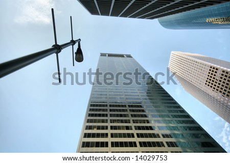 Building Perspective with Streetlight, Houston, Texas, USA(Release Information: Editorial Use Only. Use of this image in advertising or for promotional purposes is prohibited.) - stock photo