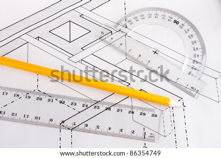 Building plan of wooden beams in a house - stock photo