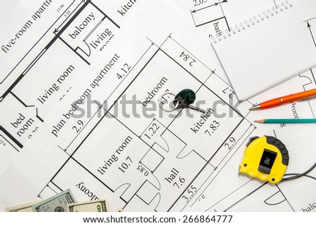 Building plan with dollars