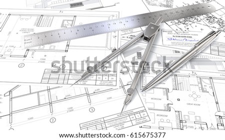 Blueprint Pen Ruler Stock Images Royalty Free Images Vectors