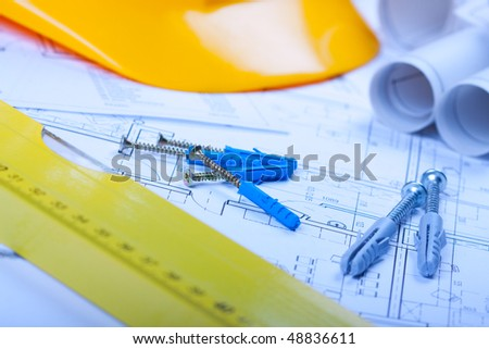 building plans in blue - stock photo