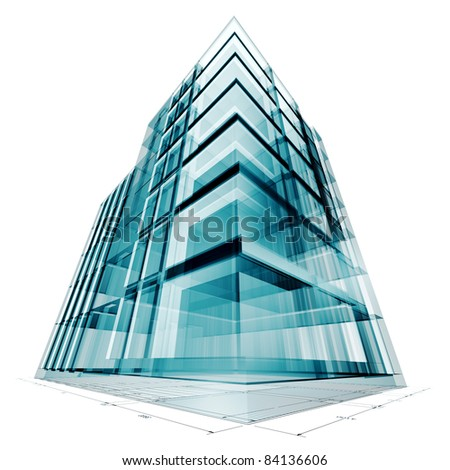 Building project. High resolution 3d render - stock photo