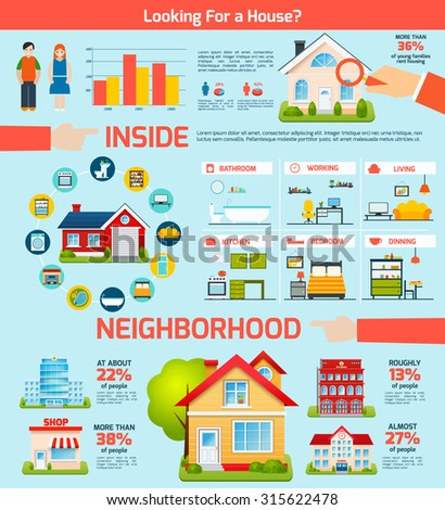 Building real estate property infographics set with houses interior  illustration - stock photo