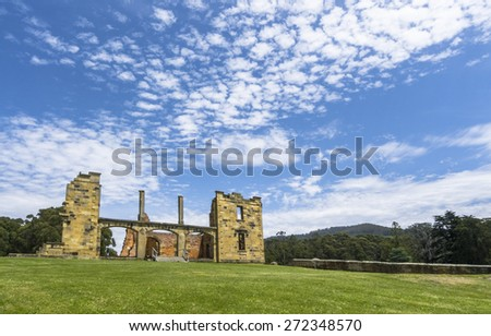 Building ruins in Port Arthur, Tasmania. - stock photo