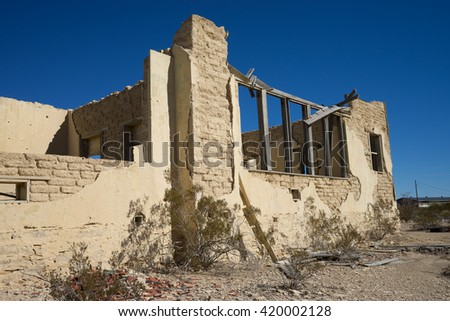 building ruins in the abandoned ghost town of terlingua texas - stock photo