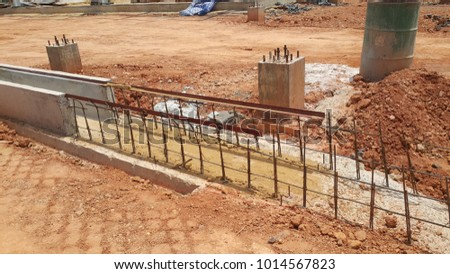 Building Site construction with metal structure. Industrial business.
