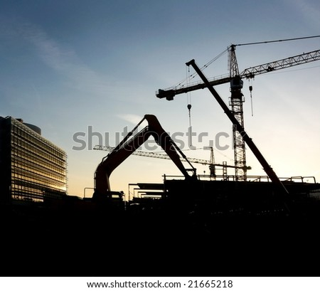 Building site in sunset. - stock photo