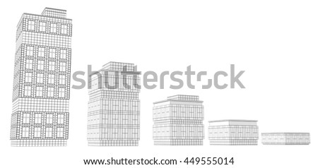 Building sizes design model, 3d illustration, horizontal, over white, isolated