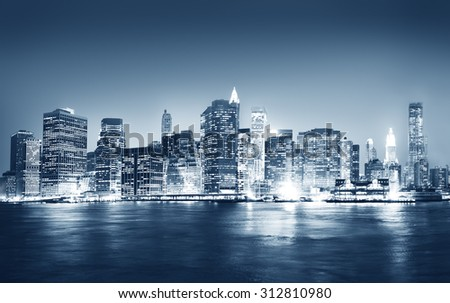 Building Skyscraper Panoramic Night New York City Concept - stock photo