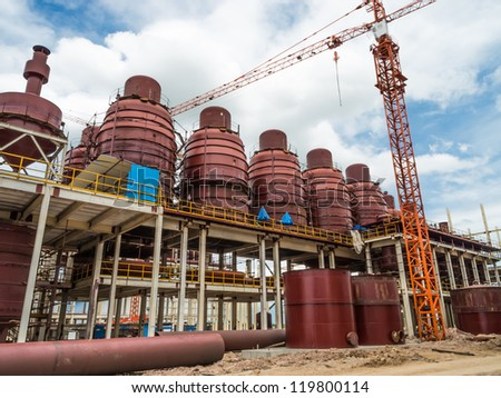 Building structure in factory - stock photo
