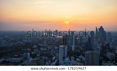 Building sunset in middle of Thailand