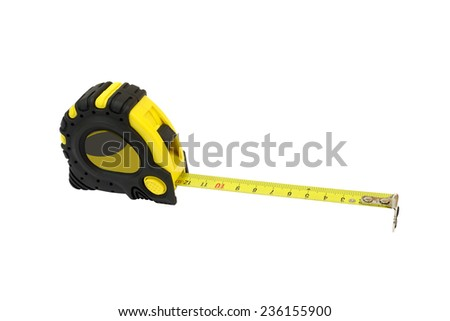 Building tape measure isolated on a white background - stock photo
