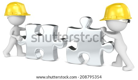 Building team. Dude the builder x 2. Putting puzzle pieces together. - stock photo