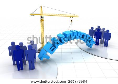 Building teamwork concept, 3d render, white background - stock photo