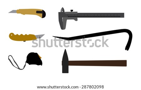 Building tools hammer, screwdriver, tape measure.  Illustration  - stock photo