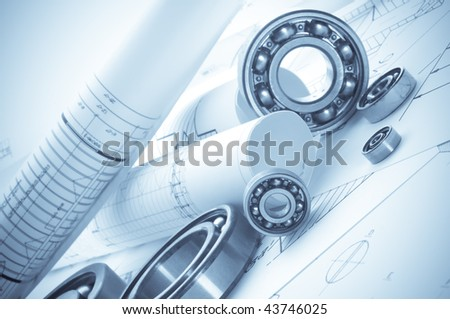 Building tools on a background of the drawing. - stock photo