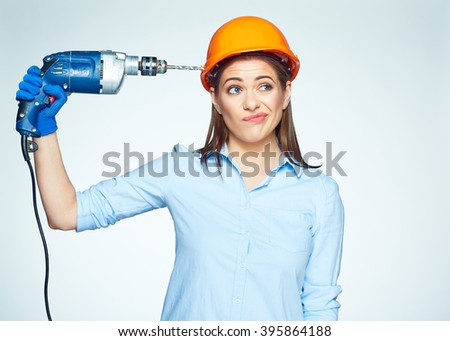 Building Trouble with Female builder worker. Isolated portrait of woman builder with drill.  - stock photo