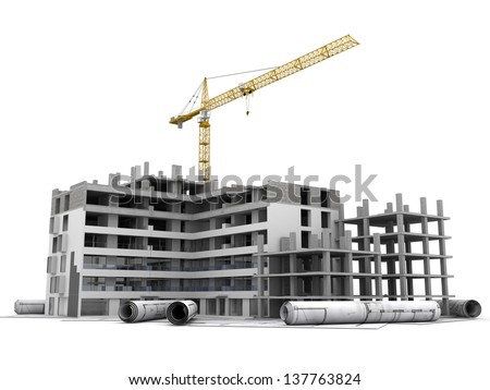 Building under construction with crane, on top of blueprints - stock photo