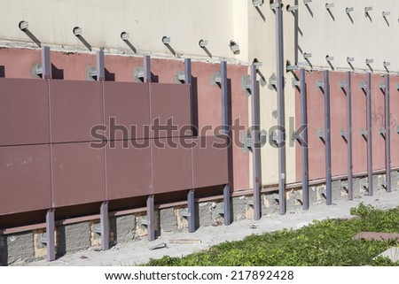 Building wall with ventilated facade under construction - stock photo