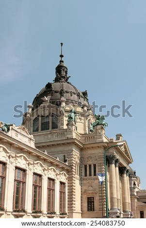 Building with a dome.Secheni swimming bath, Budapest, Hungary - stock photo