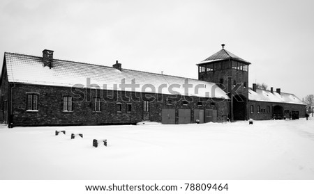 Building with gate to Auschwitz concentration camp, Poland - stock photo