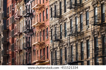 Buildings along 3rd Street near Tompkins Square Park in the East Village of Manhattan, New York City - stock photo