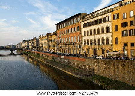 Buildings along the Arno River in Florence, Italy - stock photo