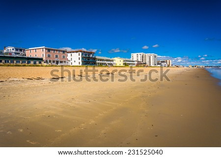 Buildings along the beach at Old Orchard Beach, Maine. - stock photo