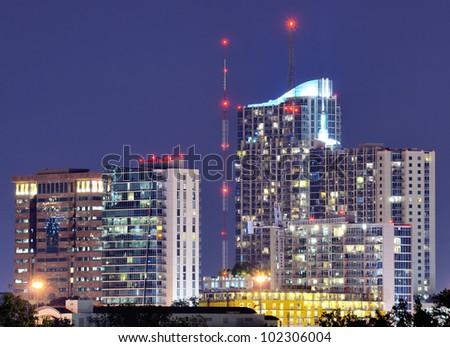 Buildings along the skyline of Midtown Atlanta, Georgia, USA. - stock photo