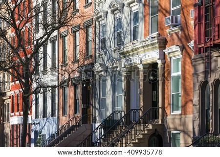 Buildings along Tompkins Square Park in Manhattan, New York City - stock photo