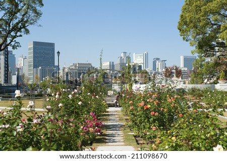 Buildings And A Rose Garden Of Nakanoshima Park - stock photo