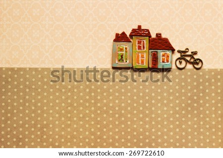 Buildings and bicycle, your text here - stock photo